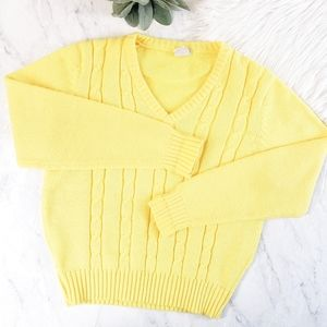 Vintage Sears Yellow Cable Knit V Neck Sweater